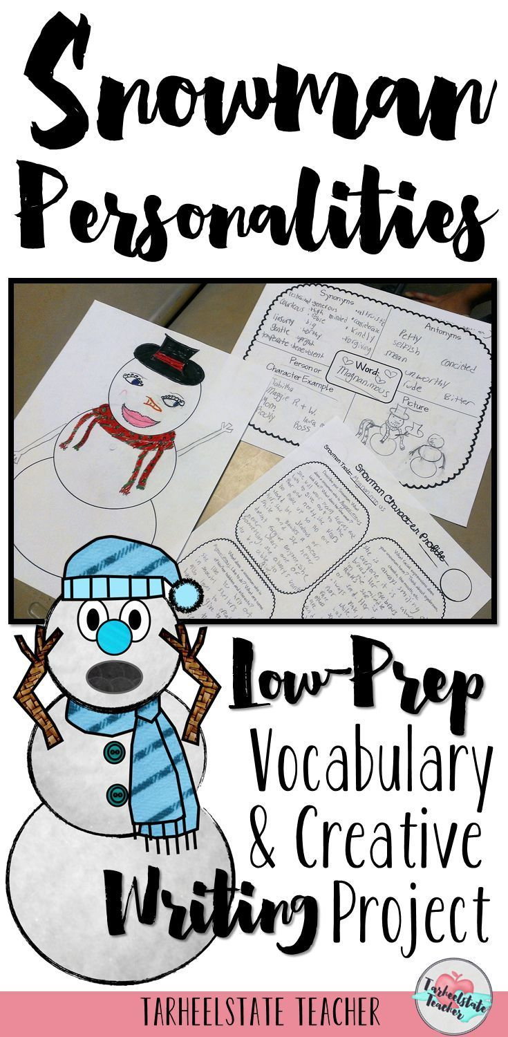 Need a creative way to keep students engaged during the Christmas/holiday season? Snowman Personalities Winter Writing Project for 3rd, 4th, or 5th graders is easy to prep and full of character traits vocabulary word learning, creative writing, and art!