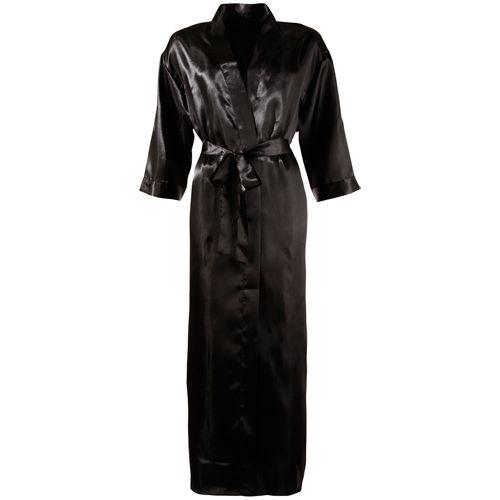Lange zwarte satijnen kimono. Elegant en sexy. #lingerie #lingeriebestellen #kimono #style #fashion #sexy #ladylike