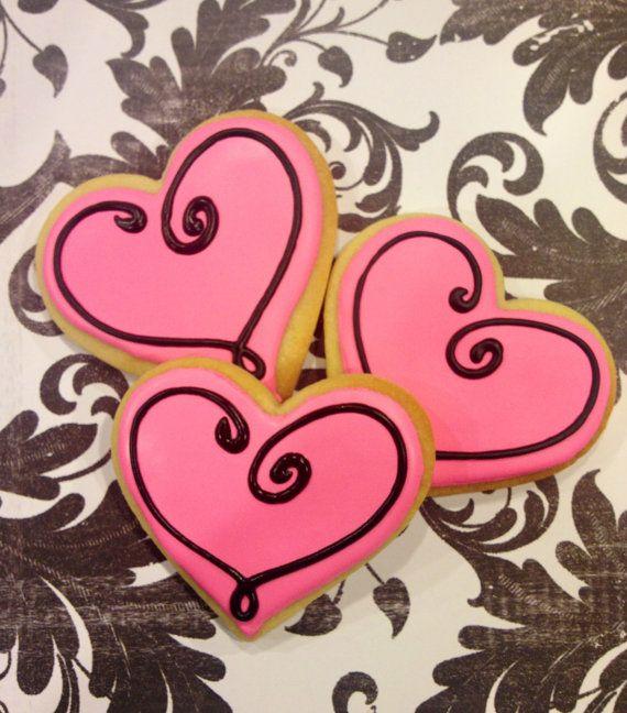 Sweet Pink Valentine heart sugar cookies 1 dozen by LaPetiteCookie