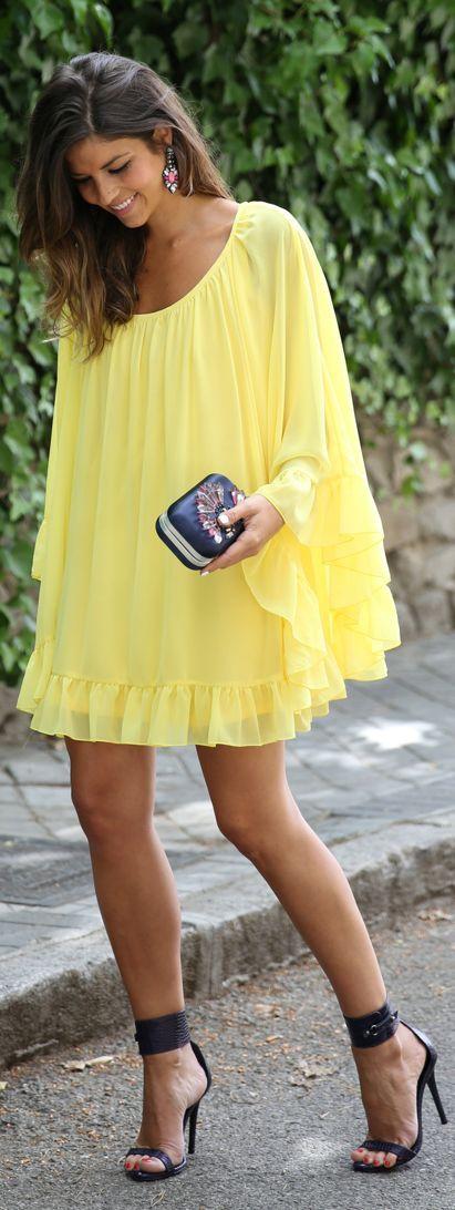 Coosy Yellow Fresh Ruffle Hem Cape Dress