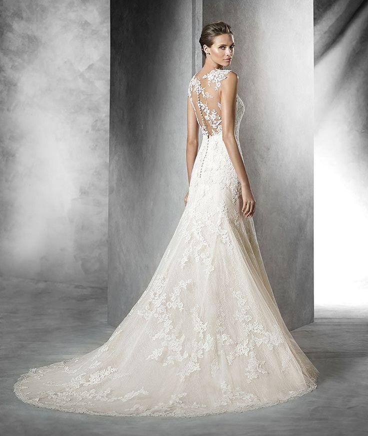 PLADIE , Robe de mariée en tulle, silhouette sirène