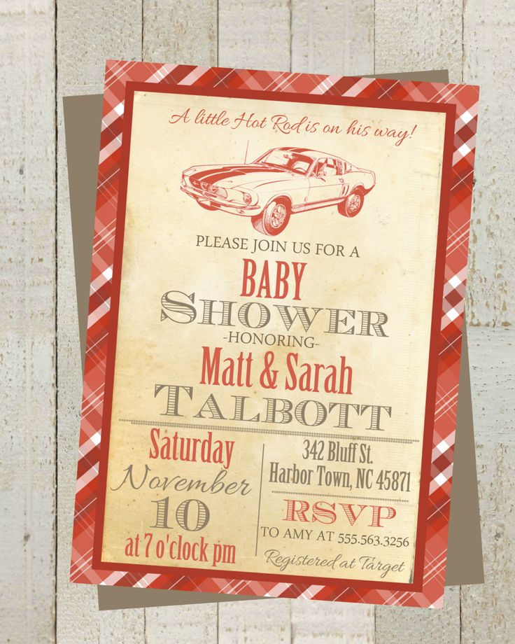 little hot rod vintage baby shower invite invitation with classic mustang car red gray baby shower invite digital file