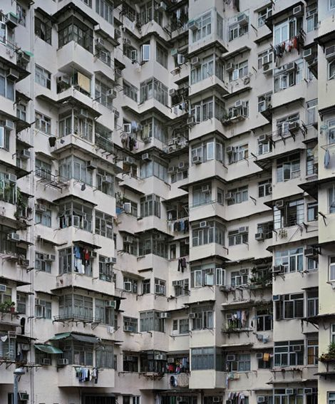 Don't know how old these buildings are, but the images of Hong Kong's buildings in Michael Wolf's *Architecture of Density* look amazing.