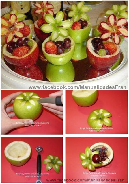Wow apple fruit cups for awesome healthy fruit salad party snack bar!