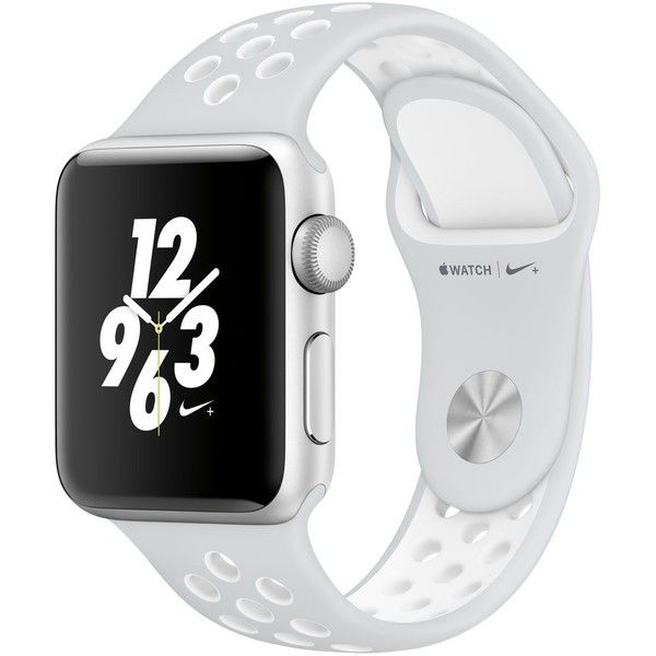 Apple Watch Nike+ 38mm Silver Aluminum Case with Platinum/White Nike... ($369) ❤ liked on Polyvore featuring jewelry, watches, no color, white watches, platinum watches, white jewelry, platinum jewelry and sports wrist watch