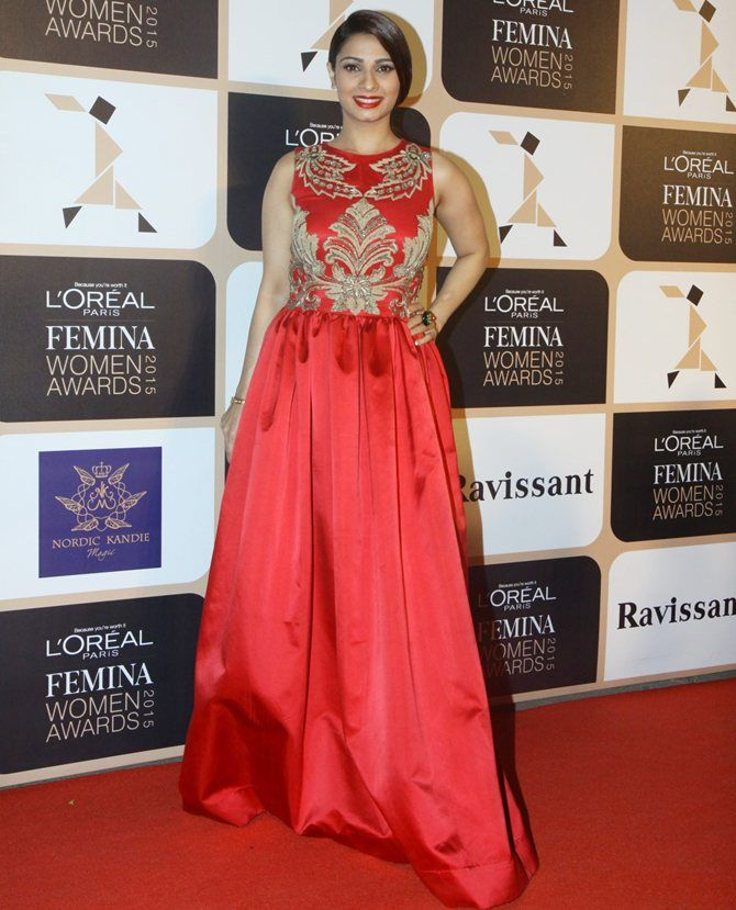 Tanisha Mukherjee stands out in red.