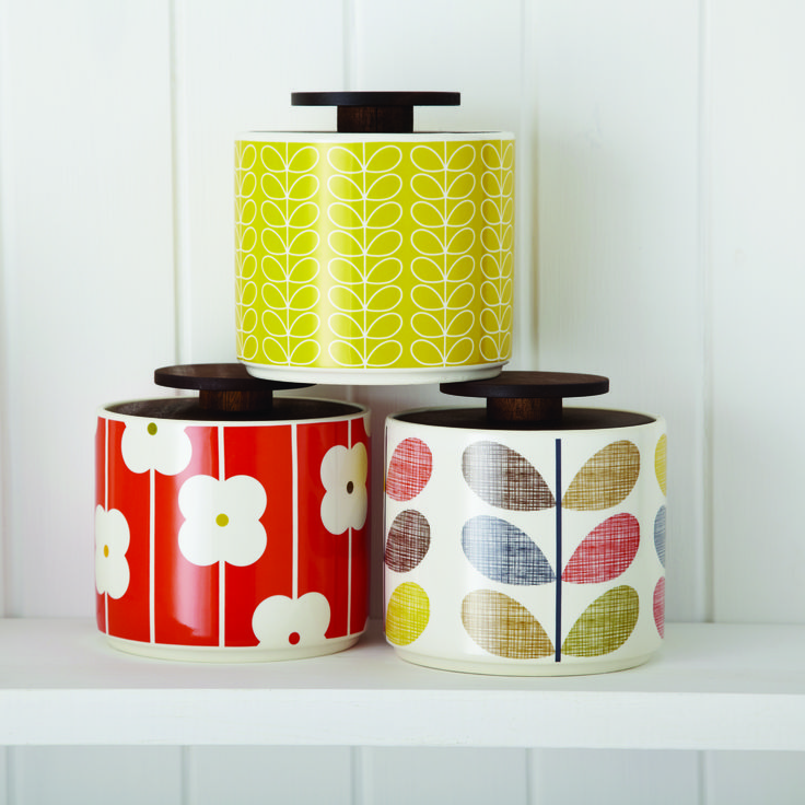These ceramic jars with Orla Kiely prints will compliment any stylish kitchen, whether retro or contemporary.