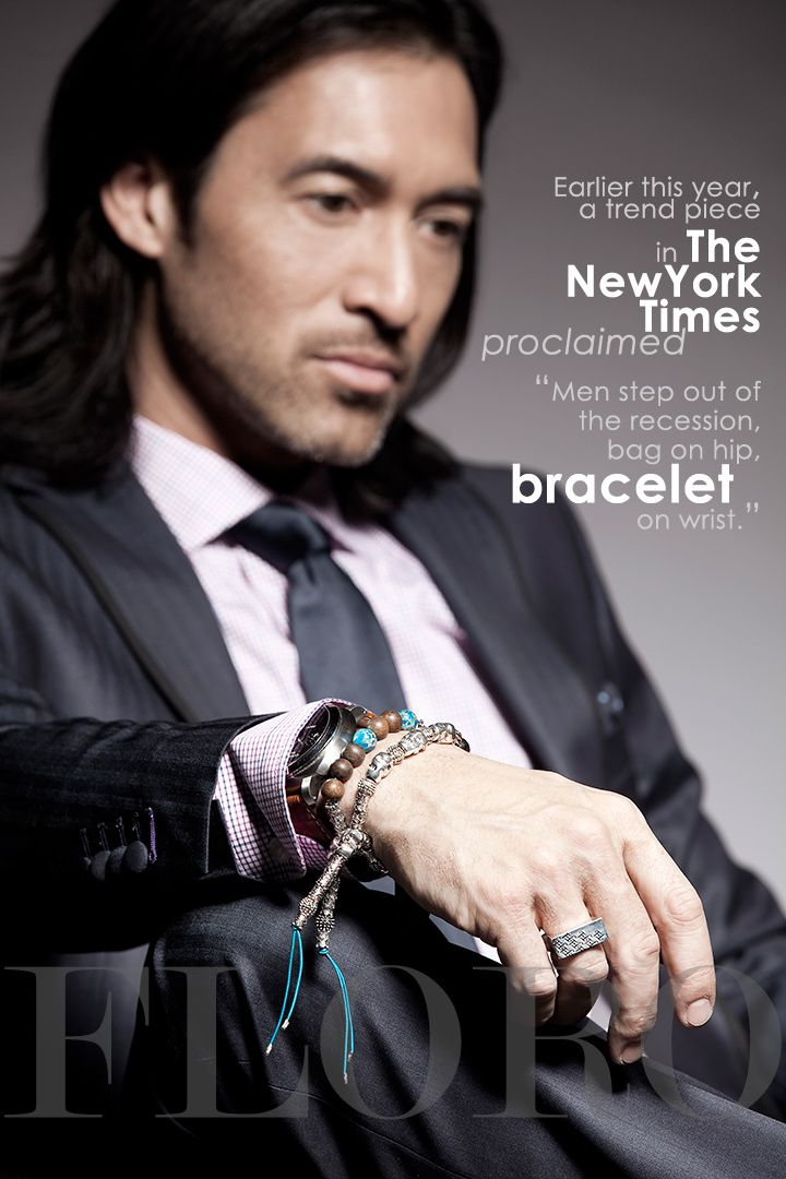 """These days, pink shirts don't even merit a mention. Earlier this year, a trend piece in The New York Times proclaimed """"Men step out of the recession, bag on hip, bracelet on wrist.""""   Check out the ARMOUR Collection by FLORO. http://www.floro.ca/#!product/prd1/503798241/armour-collection"""