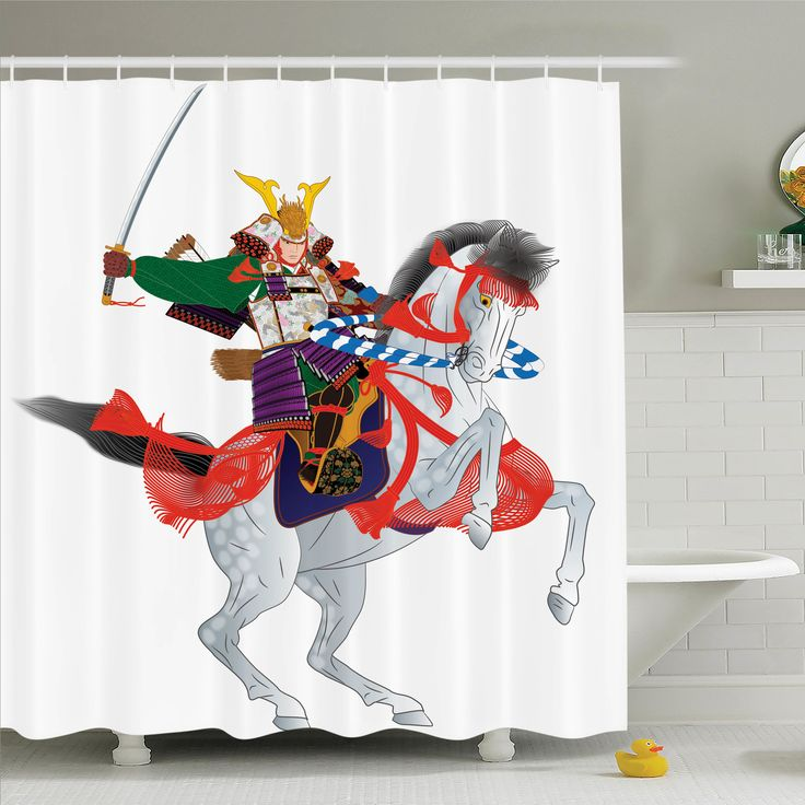 Japanese Decor Samurai Horse Shower Curtain Set