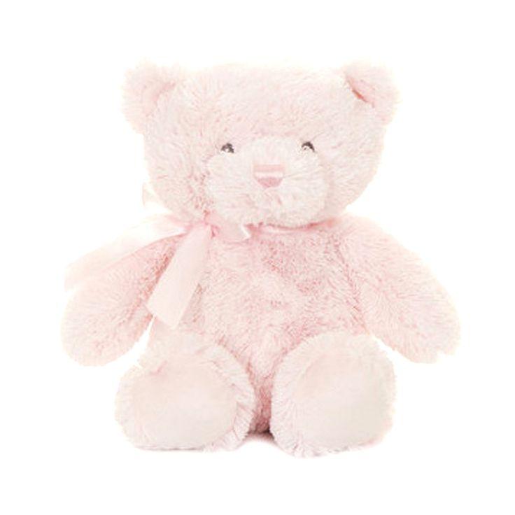 Superzachte roze beer met roze strik. Dit wordt baby's allerliefste beer.
