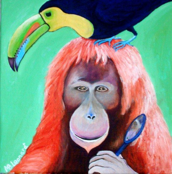Orangutan with mirror