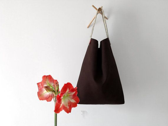 Ooak hobo bag in brown cotton fabric and strap in by FMLdesign