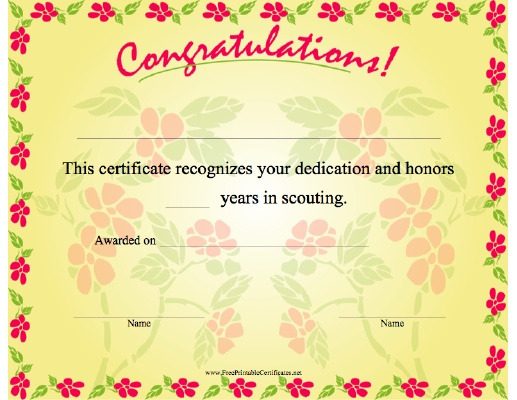 18 best images about Girl Scout Forms and Certificates – Congratulations Certificate