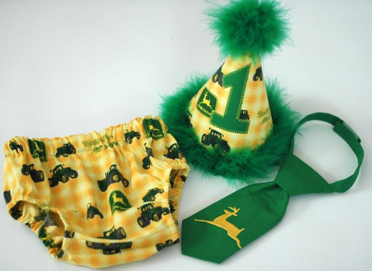 Birthday Party Hat, Diaper Cover, Tie - First Birthday, Smash Cake Pics, Photo Prop - John Deere Tractor Yellow Green - Cake Smash Outfit