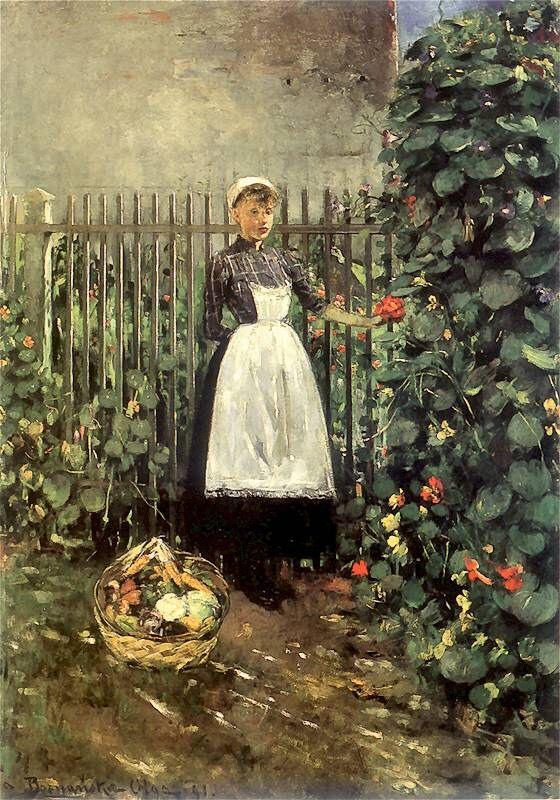 Olga Boznanska - Dziewczynka z koszem jarzyn w ogrodzie