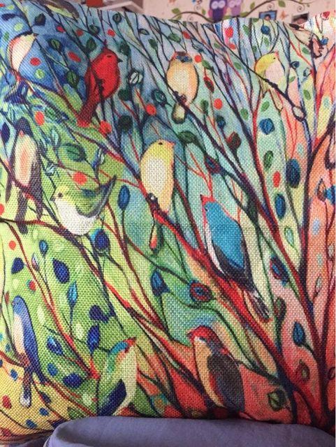 Árvores de Flores dos desenhos animados Fronha de Almofada de Linho de Algodão decorativo aves Decorativo Travesseiro Almofada/capa para almofada/cojines Loja Online | aliexpress móvel
