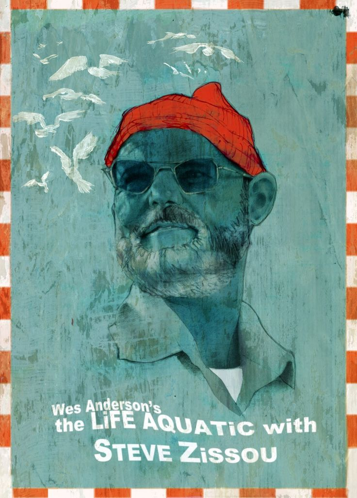 "A portrait of B.Murray inspired by W.Anderson's ""the life aquatic with Steve Zissou"". MIxed media: acrylics, pencils, photoshop, are used for an image, reminiscent of sea voyages."
