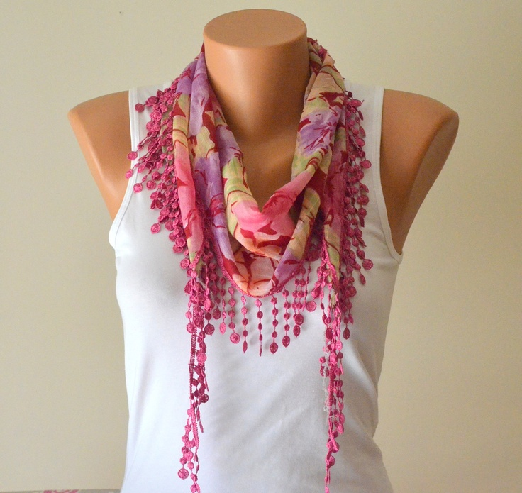 Pink floral summer scarf and white tank.