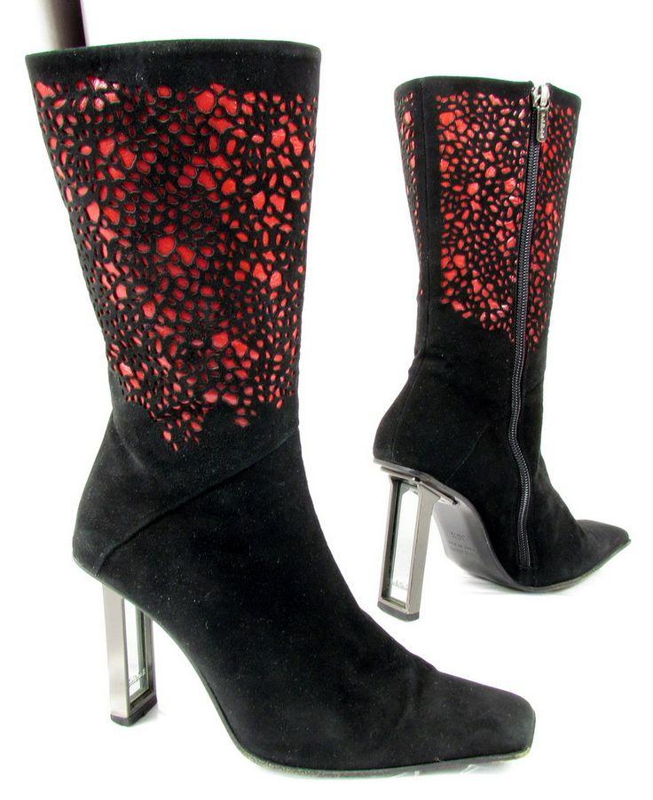 """BALDININI """"Electric"""" stivali scarpa leopard pelle di camoscio (nero/rosso) Usato ~ Exceptionally AMAZING, but oh, the heels!"""