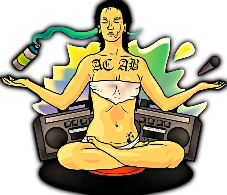 Hip hop , 4 ramas , girl , woman , graffiti , vinilo , ilustracion