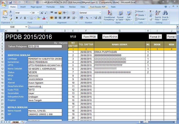 [EXCEL OPS] Aplikasi PPDB Microsoft Excel Tahun Pelajaran 2015 Versi Revisi [.xls]
