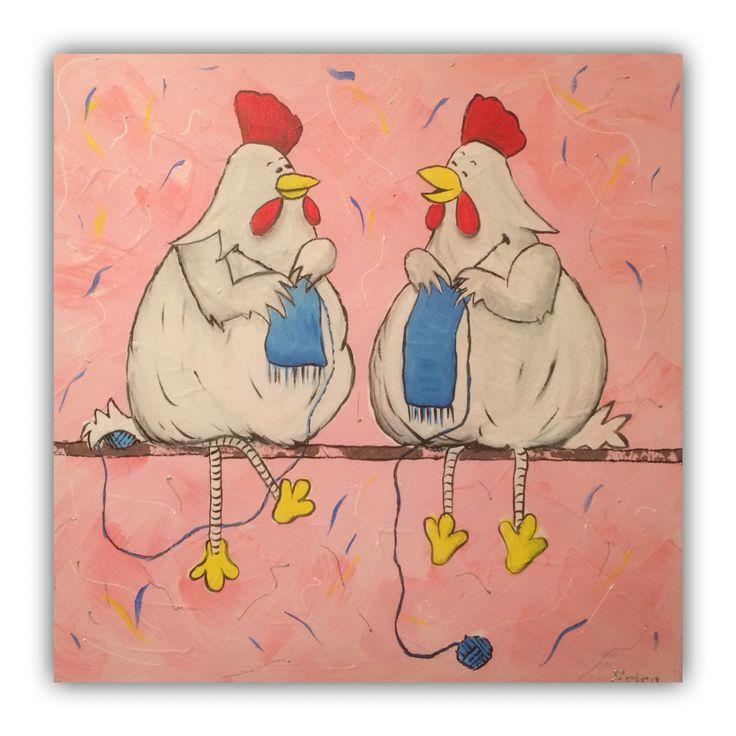 Hakende kippen 50x50cm door Erica Willemsen
