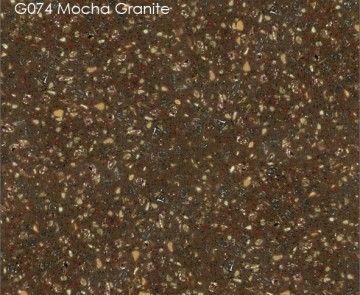 Акриловый камень как гранит. HI MACS Granite G074 Mocha Granite Коричневый цвет, вкропления, текстура, фактура акрилового камня.