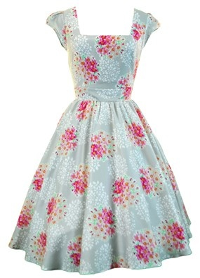 Silver Grey & Pink Floral Swing Dress