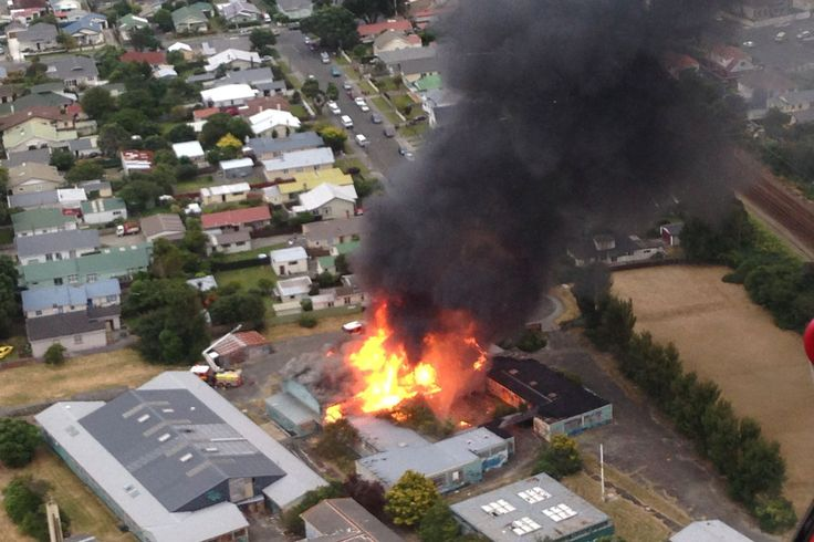 The fire service is at the scene of a large fire at the former Petone College building in Lower Hutt this evening