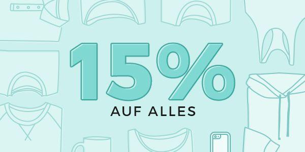 Spar-Alarm! Von satten 15% Rabatt auf ALLES kannst du jetzt profitieren! Jetzt gestalten auf www.t-shirt-mit-druck.de  Gültig vom 22.02.2018 bis 25.02.2018 mit dem Gutscheincode: 15OFF18