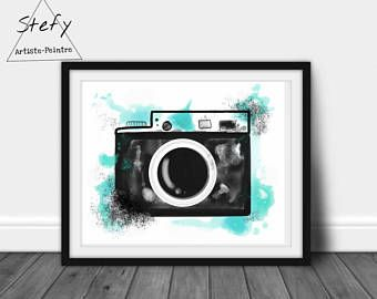Illustration appareil photo, affiche vintage, poster appareil photo, reproduction papier, aquarelle turquoise, décoration maison, stefy