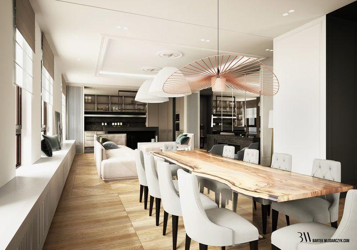 Jadalnia z drewnianym stołem, nad którym wisi lampa Vertigo, w tle salon z nowoczesnymi lampami Axo Bell. http://bartekwlodarczyk.com/