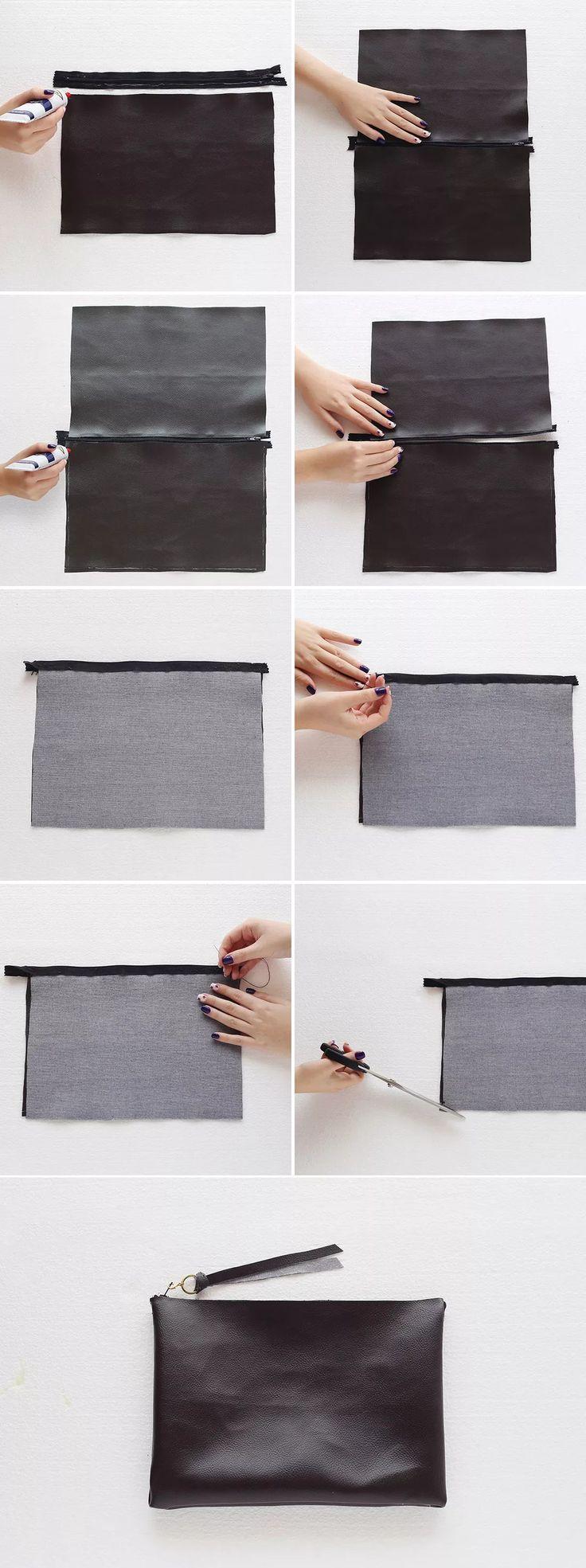 Tuto pour pochette en faux cuir sans couture