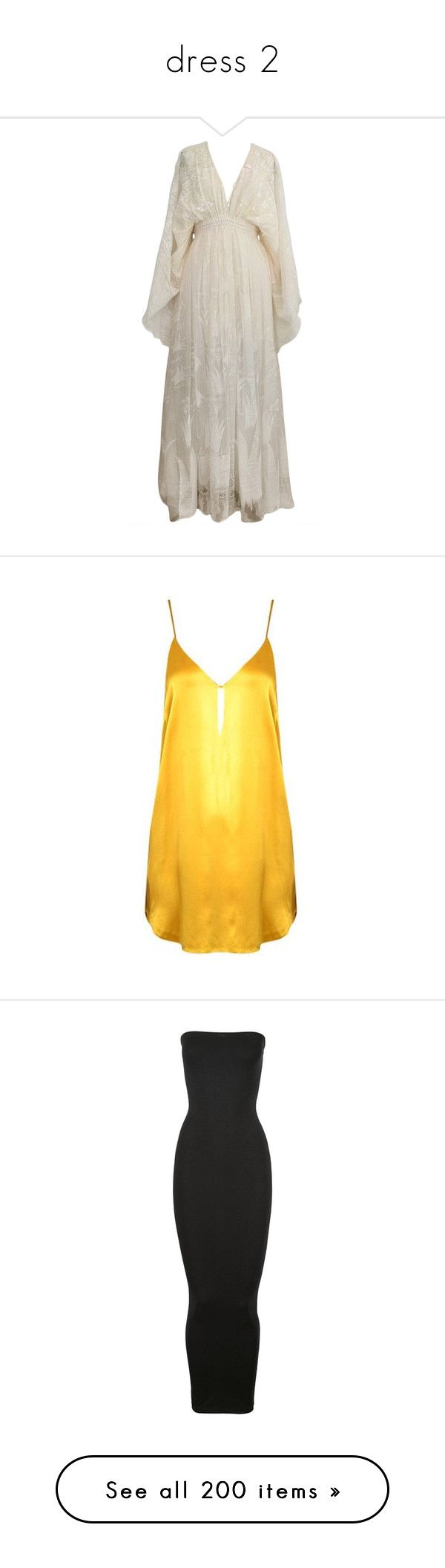 """dress 2"" by abcdfuckyou ❤ liked on Polyvore featuring dresses, gowns, long dresses, silk gown, vintage gowns, vintage ball gowns, white gown, white silk dress, yellow dress and yellow silk dress"