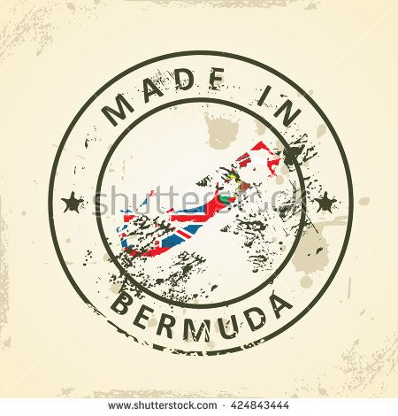 Grunge stamp with map flag of Bermuda - vector illustration - stock vector