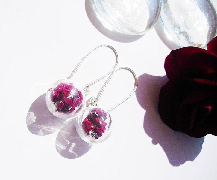 Glasohrringe -  Glasohrringe Rose 925er Silber - ein Designerstück von flowerring bei DaWanda