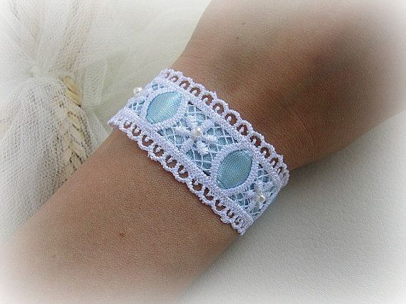 White lace flower bracelet  with sky blue by MalinaCapricciosa