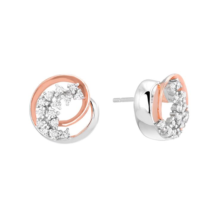 A stunning pair of Sterling Silver earrings finished with AAA Grade Cubic Zirconias and details highlighted with Rose Gold plating.