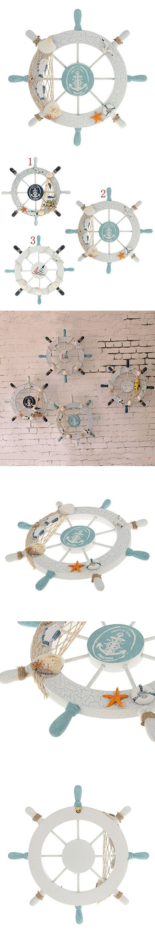 Tinksky Nautical Beach Wooden Boat Ship Steering Wheel Fishing Net Shell Home Wall Christmas Decoration - Swim ring