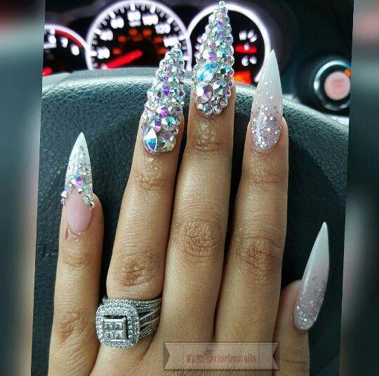 Stiletto Swarovski Nail Art Design