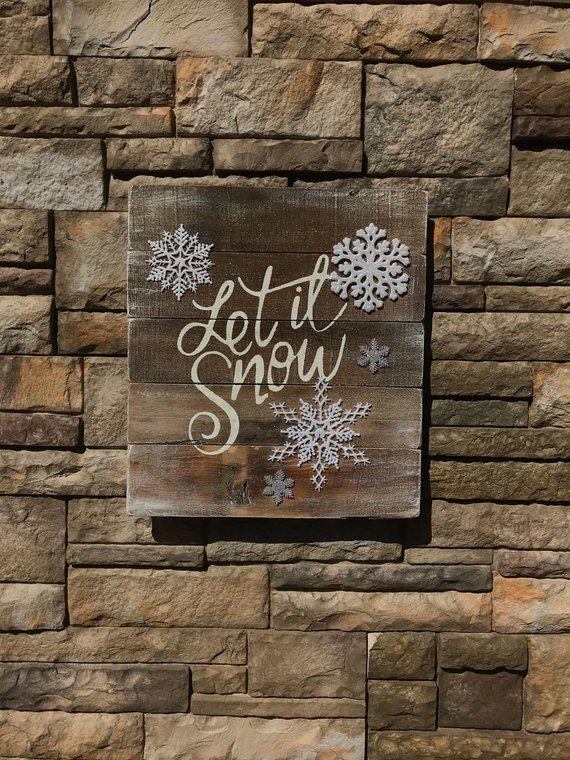 Let It Snow Pallet Sign 3d Snowflake Sign Pallet Winter Sign Ourdoor Winter Decor Indoor Snowflake Snowflakes Wall Decor Fun Office Decor Christmas Tree Design