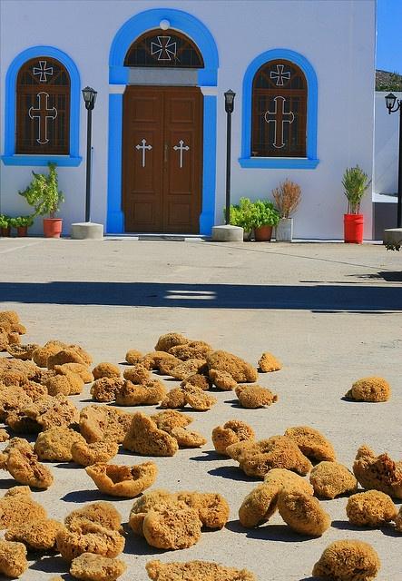 Church and sponges, Pserimos island, Greece