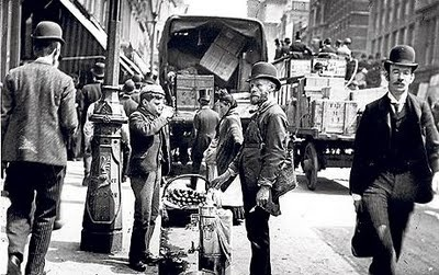 Sherbet and water seller in Cheapside, London, photographed by Paul Martin, circa 1900