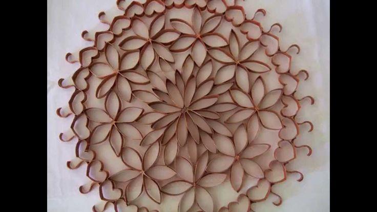 Enfeite de parede (flores de papel-rolinho de papel higiênico)