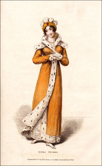 """This pelisse is made of the richest orange or amber twilled sarsnet, lined with ermine; the collar, cape, and cuffs are also of ermine. In the form of this dress there is nothing particularly novel, but its general effect is strikingly elegant ..."""