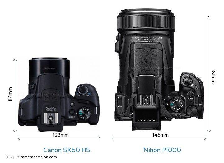 Canon Sx60 Hs Vs Nikon P1000 Camera Size Comparison Top View Nikon Coolpix Coolpix P900
