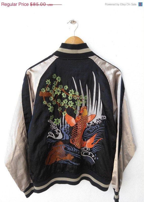 Vintage s japan fish embroidery dragon eagle sukajan