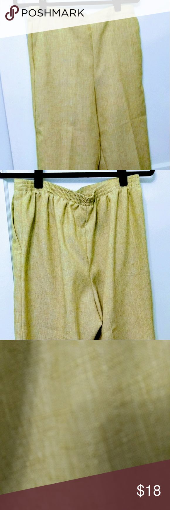 Alfred Dunner These light green pants have a textured look. They have a flat front & elastic back, for comfort. They match a blouse, previously listed. 100%polyester. Care machine wash cold; tumble dry low. Great lightweight fabric, perfect for spring & summer. Alfred Dunner Tops Blouses