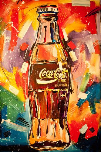 Coke Bottle - by Steve Penley Uses swift brushtrokes with multiple colors to form the image.