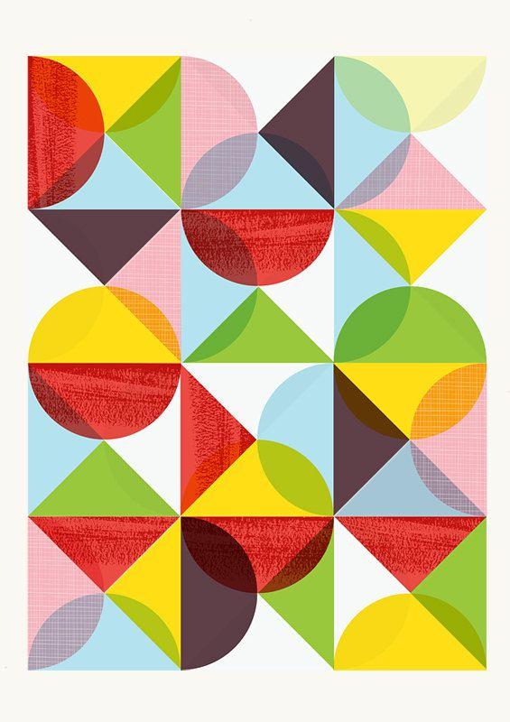 Geometric print, Abstract art, Mid Century modern, Scanidnavian, modern, Colorful, art for nursery  A3. $19.00, via Etsy.